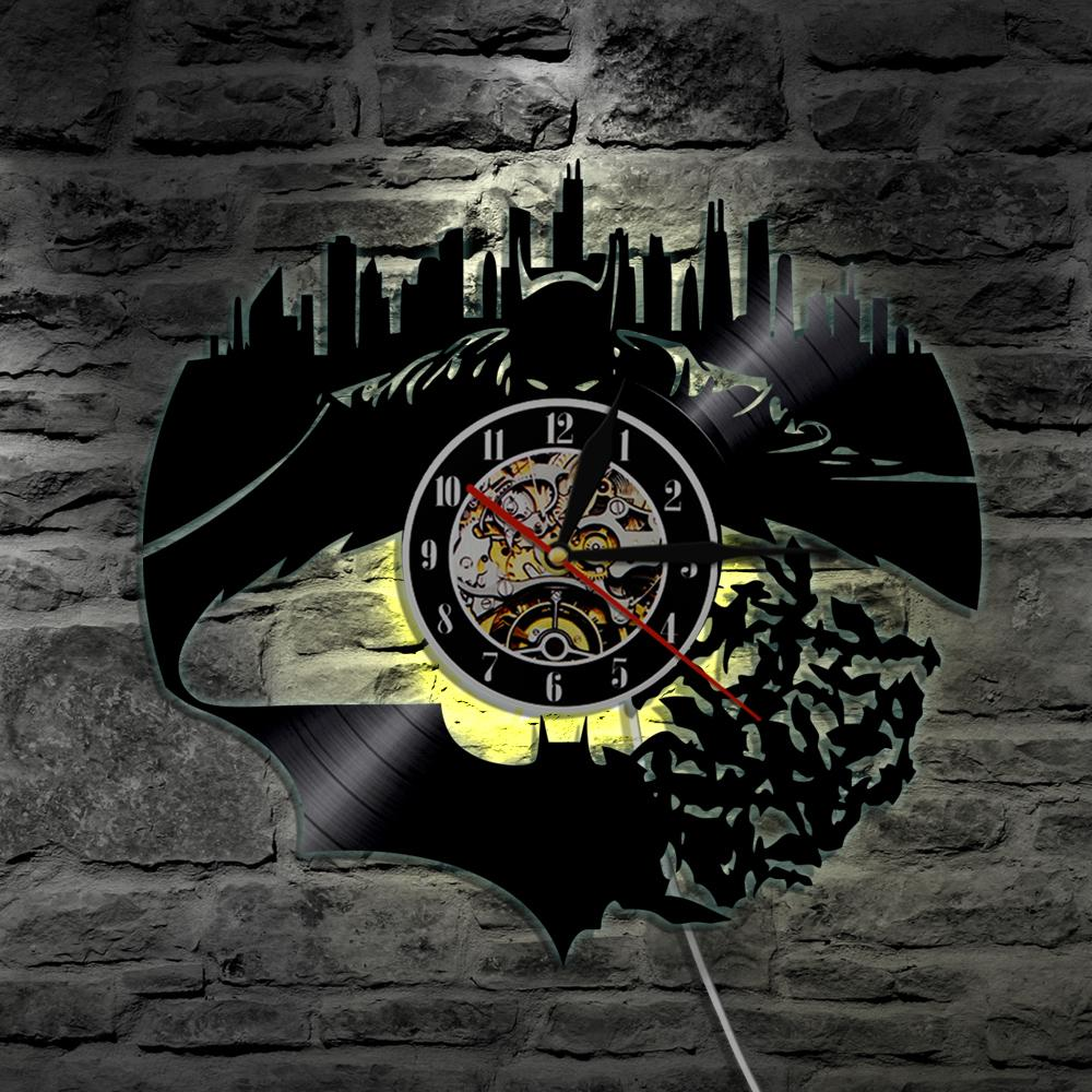 Piece batmangotham city wall vinyl led wall lighting vintage lp piece batmangotham city wall vinyl led wall lighting vintage lp record clock handmade decor art gift silhouette led lightchristmas gift musical wall mozeypictures Gallery