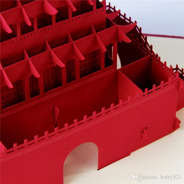 Großverkauf Kirigami 3D knallen oben Karten-Weinlese-Chinese-Architektur Glockenturm von Xi'an Handmade Gruß-Karten für Freunde