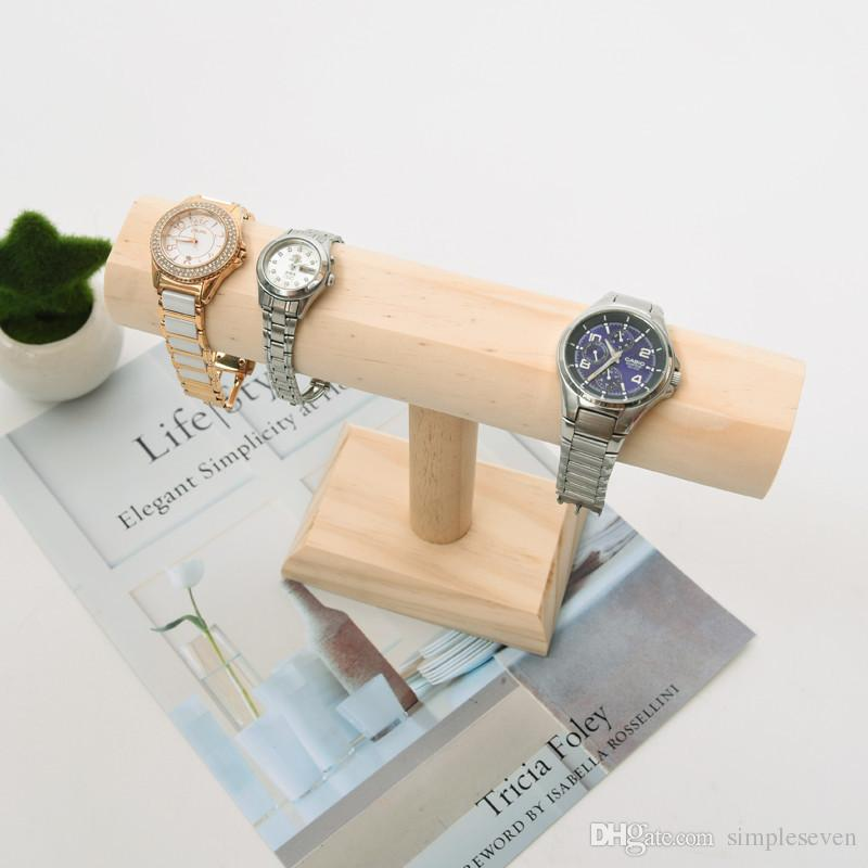 [Simple Seven] Muji Style Jewelry Bracelet holder Natural wooden Bangle Stands Craftshow T Shape Watch display Shopwindow Necklace Tray