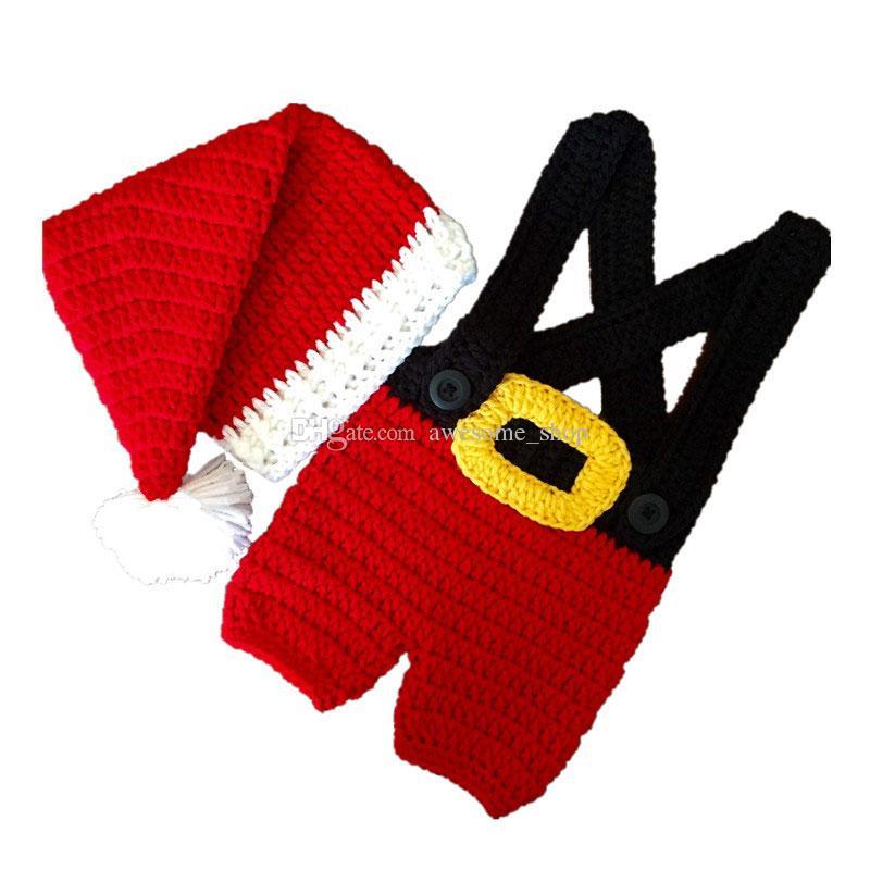 Newborn Santa Elf Costume Handmade Knit Crochet Baby Boy Girl Christmas Pompom Hat Suspender Shorts Set Infant Toddler Photography Prop