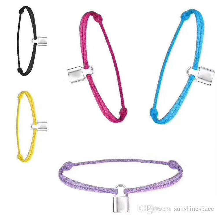 New Brand Women Lover Bangle Handmade Adjustable Rope Chain Bracelet Charm Lock Pendant Titanium Stainless Steel for gift With letter