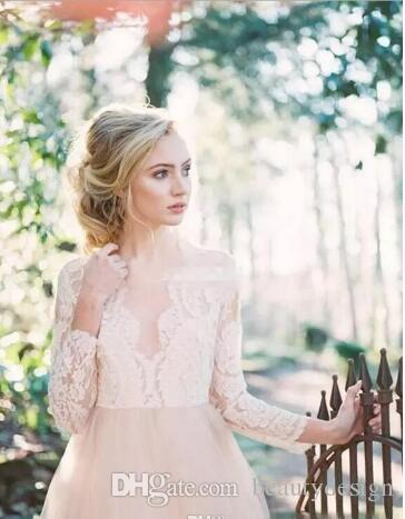 Blush Pink Lace Bohemian Wedding Dresses 2019 Sheer Long Sleeves Deep V Neck Sexy Open Back Tulle Bridal Gowns Cheap Beach Wedding Gowns
