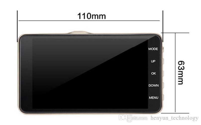 Новый универсальный автомобильная камера 4-дюймовый автомобильный планшет 8 ГБ с разрешением 1080p руководство автомобиля камера HD видеорегистратор с двумя объективами камеры