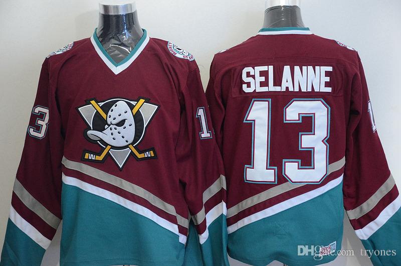Vintage Mighty Ducks de los jerseys del hockey, Teemu Selanne 8 9 Paul Kariya 35 Jean-Sebastien Giguere 13 Selanne 1998 CCM Jersey