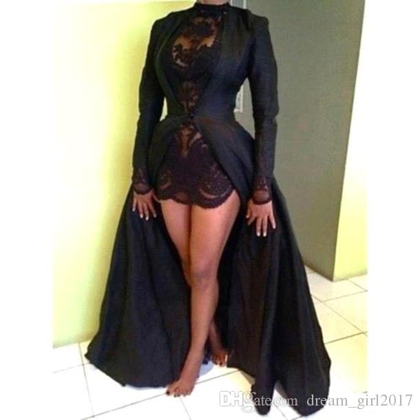 Hot 2k15 Black Prom Dresses Two Pieces Jewel Neck Lace Short Dress With Detached Long Sleeve Sweep Train Taffeta Black Jacket Custom Made