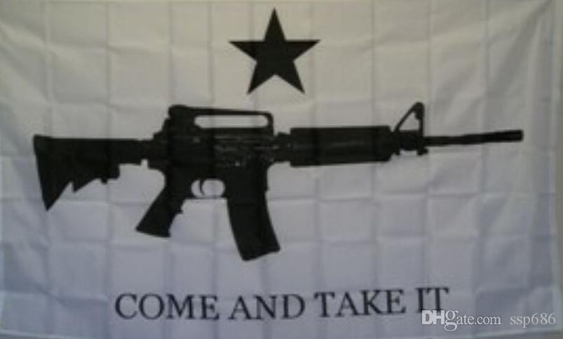 Vienen tomarle la carabina M4 arma de la bandera 3 pies x 5 pies poliéster bandera del vuelo 150 * 90cm marca personalizada al aire libre