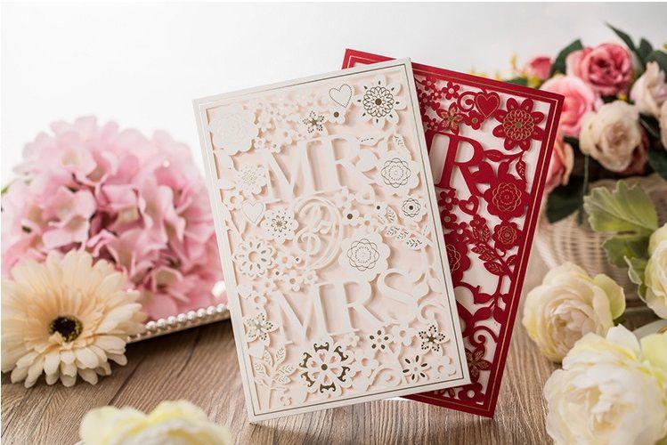 White Red color European designs Wedding supplier wedding invitation personalization wed card creative wedding invites DHL
