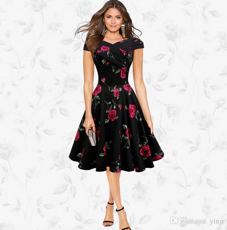 68bc5e61f7 Audrey Hepburn style Womens Elegant 50s 60s Vintage Dresses Rose Retro  Rockabilly Floral Sexy Party Dress S M L XL XXL W18