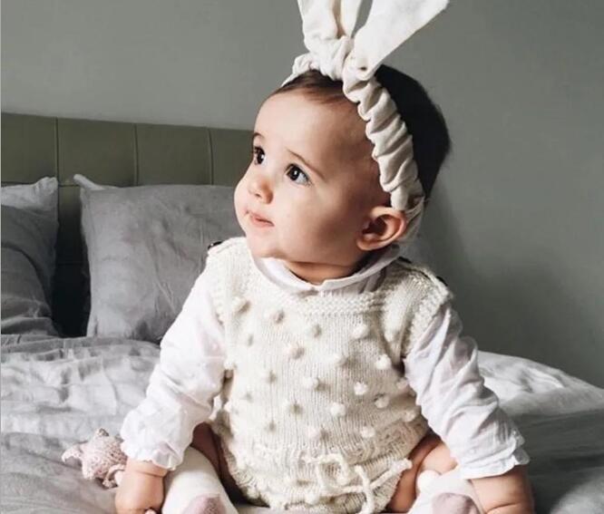 Neonato Abbigliamento Autunno Toddler Neonata Vestiti Increspature Principessa Ragazza Dolce Tuta Lavorato A Maglia Infantile pagliaccetto bambini BB021