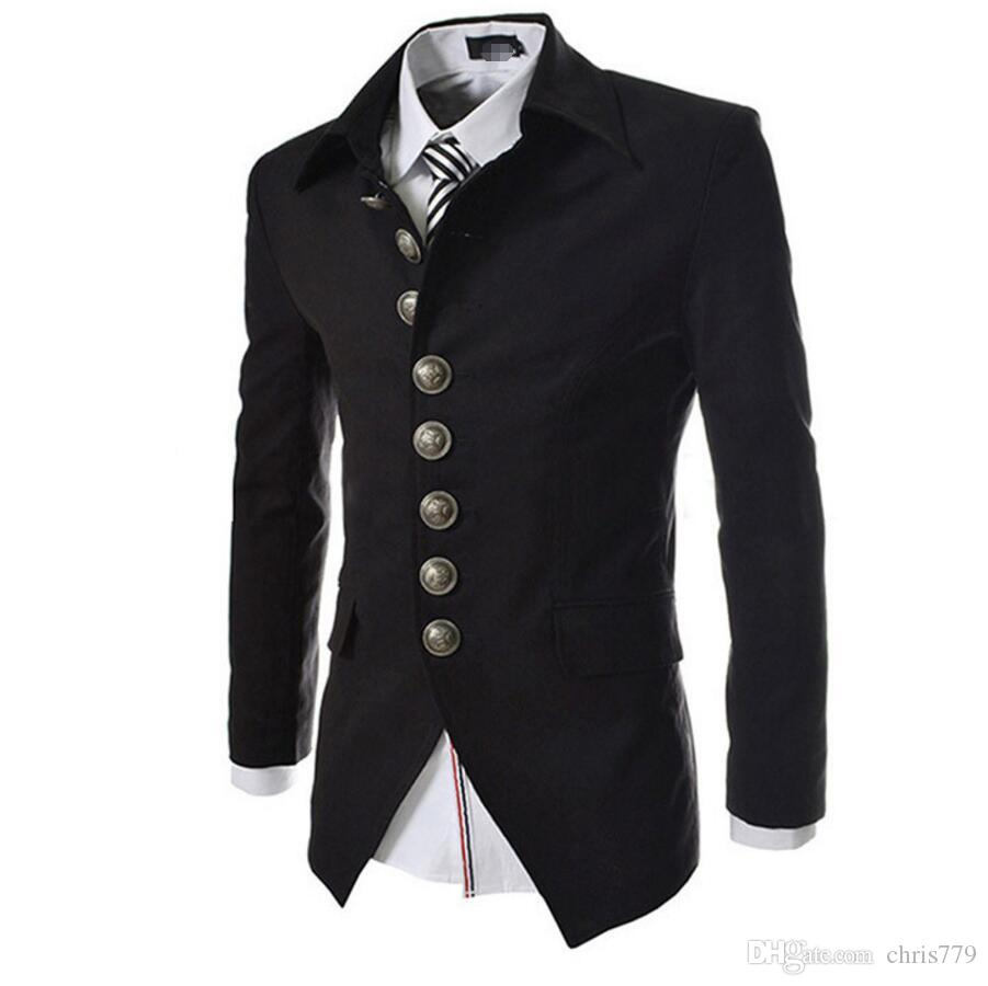 Casual Vintage Court Style Blazer Men Single Breasted Mens Slim Suit Jacket Dress Turn Down ...