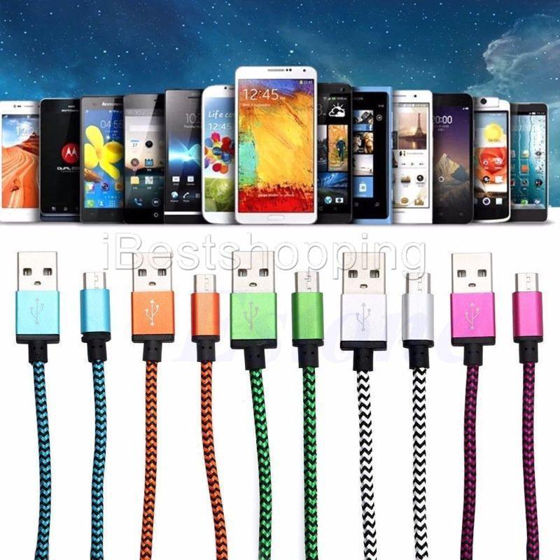 1 M 3FT 2 M 6FT 3 M 10 FT de Metal De Cobre Micro Carregador USB Sincronização De Dados tecido trançado cabo de Sincronização De Dados cabo de Carregamento Para Android Samsung Telefone Inteligente