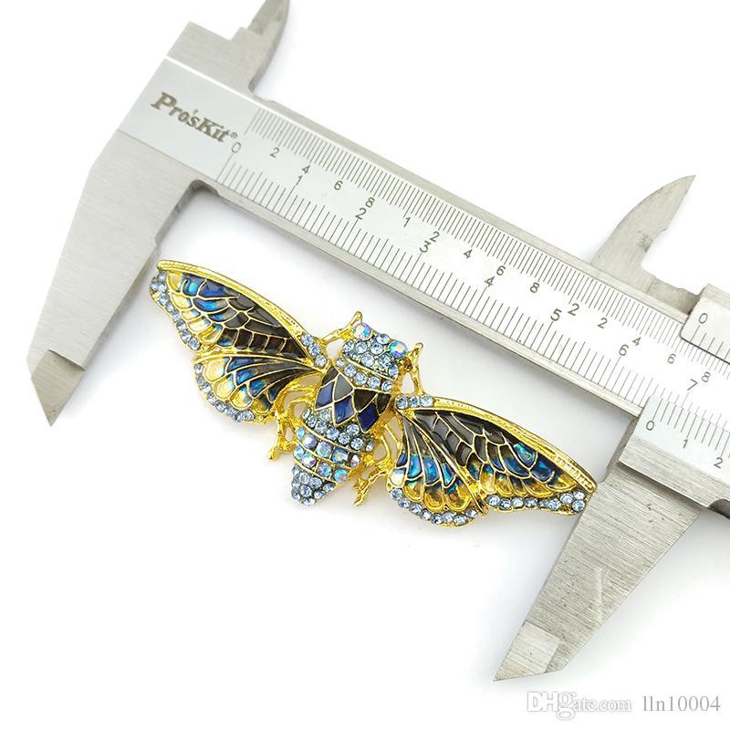/ vendita calda di alta qualità di vendita calda strass 65mm strass di cicala gioielli spilla pin insetto