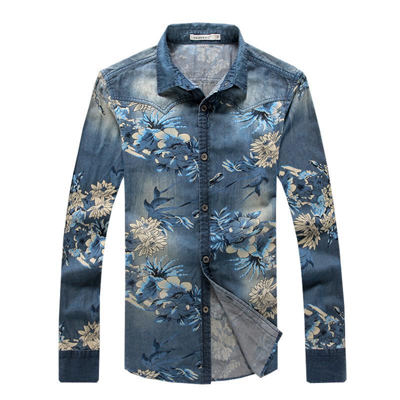 Купить Оптом Оптовая Джинсовая Рубашка Мужчины 5XL С Длинным Рукавом  Мужская Винтажная Одежда Цветочные Рубашки Мужчины Slim Fit Dress Рубашки  Хлопок ... 175cd9991dda9