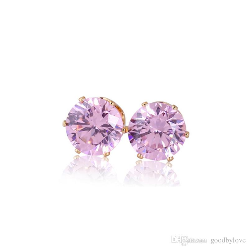 Yellow/White Gold Color 8MM Round Cubic Zirconia CZ Piercing Stud Earrings Fashion Party Costume Jewelry Bijoux
