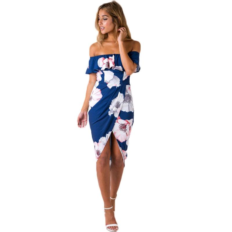 2018 Summer Style Off The Shoulder Flora Printed Dresses Womens Sexy
