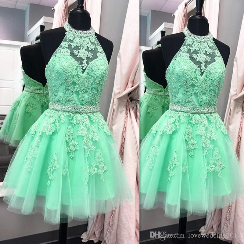 Short Mint Green Prom Dresses 2018 Sexy Sheer Girls Pageant Gowns ...