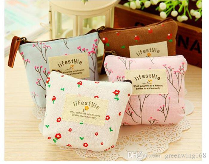 Creative Flower Women Coin Purses Fresh Syle Key Wallets Canvas Girls Gift Wallets Small Purse DHL free ship