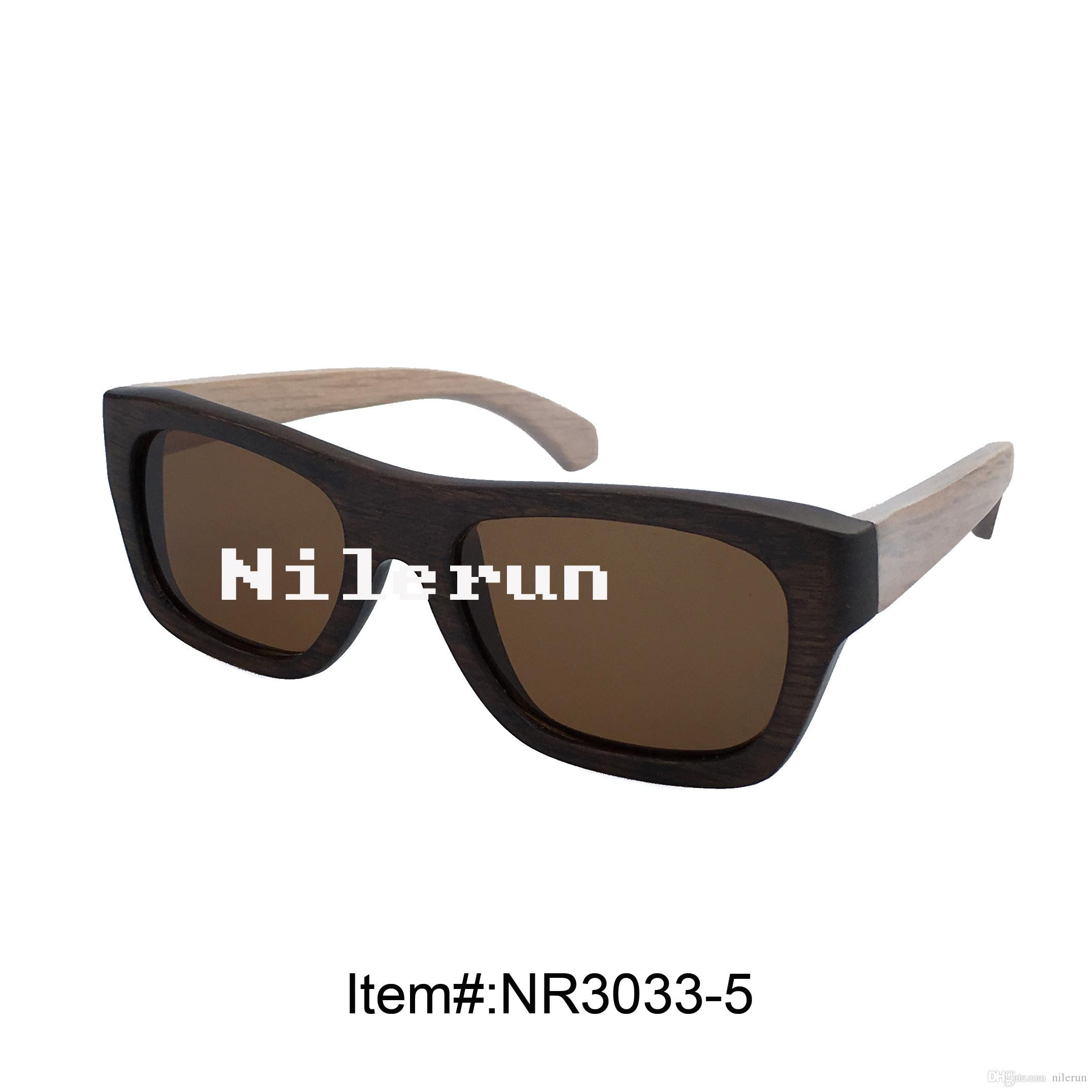 Fashion Two Tone Retro Look Wooden Frame Sunglasses Fake Ray Bans ...