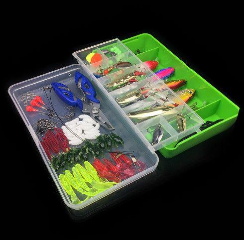 101 pz Lure Set Scatola di Pesca Compreso Plastica Soft Frog Spoon Esche Dure Popper Crank Rattling Trota Bass Salmone out226