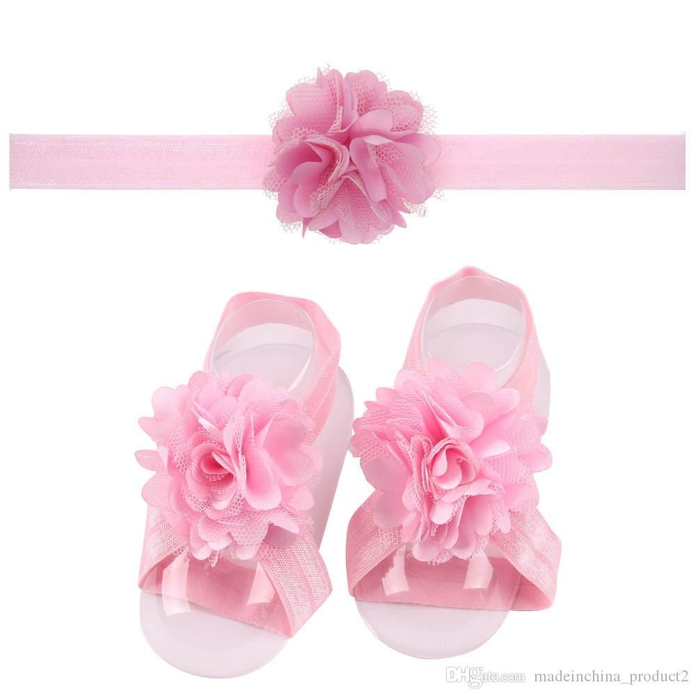 Новорожденные цветок шифон Галстуки ребёнка Босых сандалии и оголовье Set Обувь Дети Тюль ноги Украшение по уходу за детьми для новорожденных Цветочных носков
