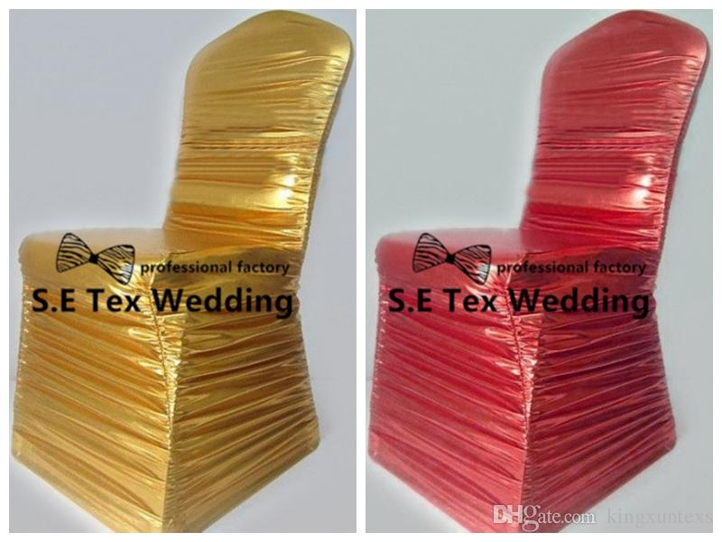 Ruffled Bronzing Coated Spandex Chair Cover \ Banquet Wedding Chair Cover Wholesale Price
