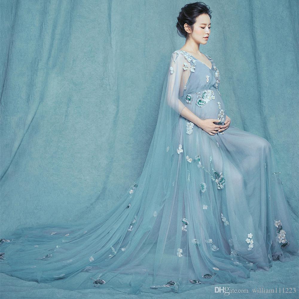 Compre Vestidos De Novia De Maternidad Elegante De Gasa De ...