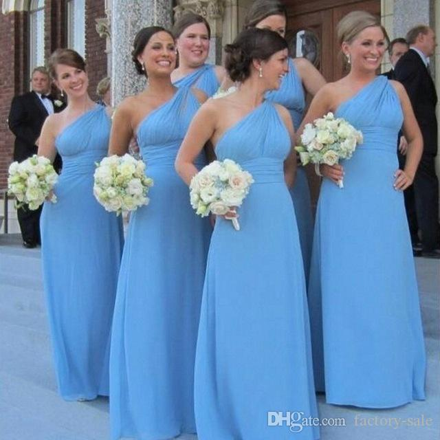 2017 Sexy Sheath Backless Chiffon Bridesmaids Dresses One Shoulder Floor Length Mother of Bride Dresses Evening Dresses Prom Holiday Gowns
