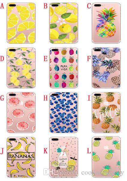 Fruit Soft TPU Case For Iphone 8 7 PLUS 7PLUS 6 6S I6 SE 5 5S Feather Lip Lipstick Pineapple Banana Cartoon Silicone Phone Cover
