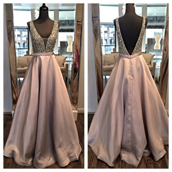 Prom Dresses 2017 Evening Party Pageant Gowns Beads Crystals V Neck