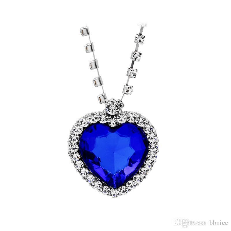 Wholesale titanic necklace the heart of the ocean diamond necklace wholesale titanic necklace the heart of the ocean diamond necklace crystal chain luxurious heart pendant necklaces for women gold pendant necklaces mens aloadofball Choice Image