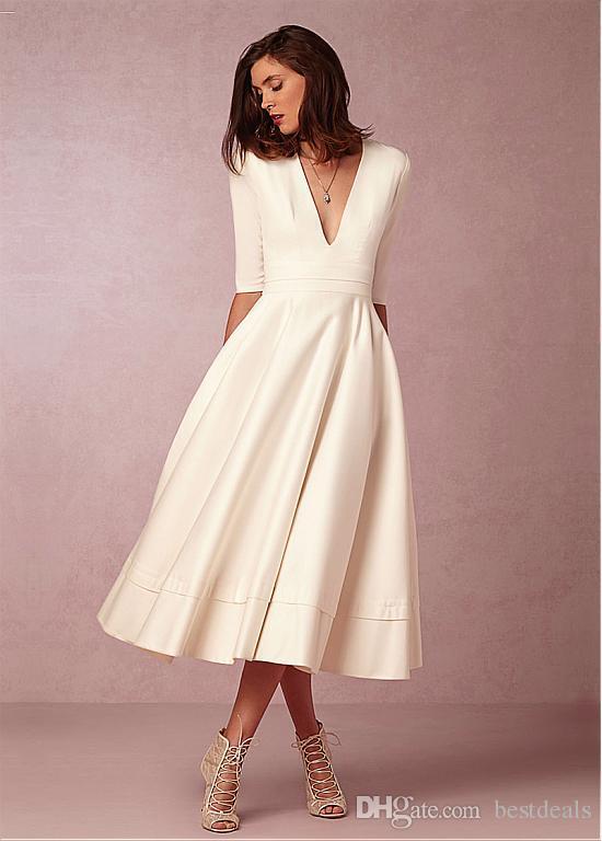 2017 сказочные Тафта атласная V-образным вырезом декольте трапеция свадебные платья старинные Половина рукава длина чая свадебное платье дешевые короткие свадебные платья