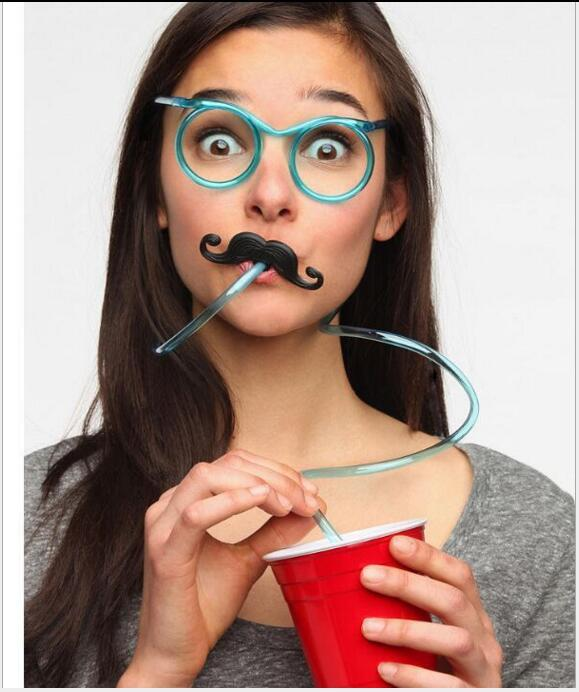 Beard Sunglasses Drinking Straw Funny Kids Colorful Soft Plastic Straw Unique Flexible Drinking Sunglasses Tube Kids Party Gift