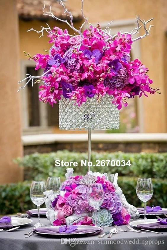 clear glass bead flower arrangement stands /tall wedding stage flower decoration