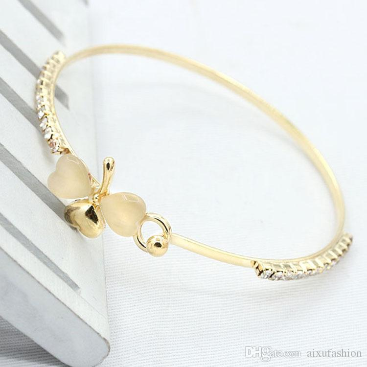 Wholesale Women Bracelets Bangle Jewelry Exquisite Luxury Small Perfume Peach Heart Bracelets Gold Silver Clover Opal Full Diamond Bracelet