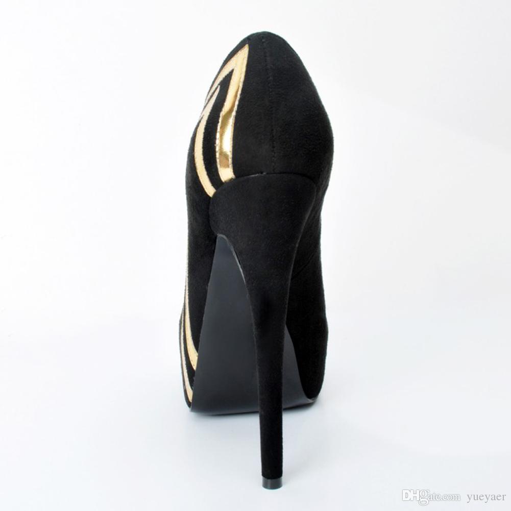 Zandina Women 's 14.5cm 세련된 장식 조각 플랫폼 슬립 Stilettos High Heels Pumps 코트 신발 검정 XD206