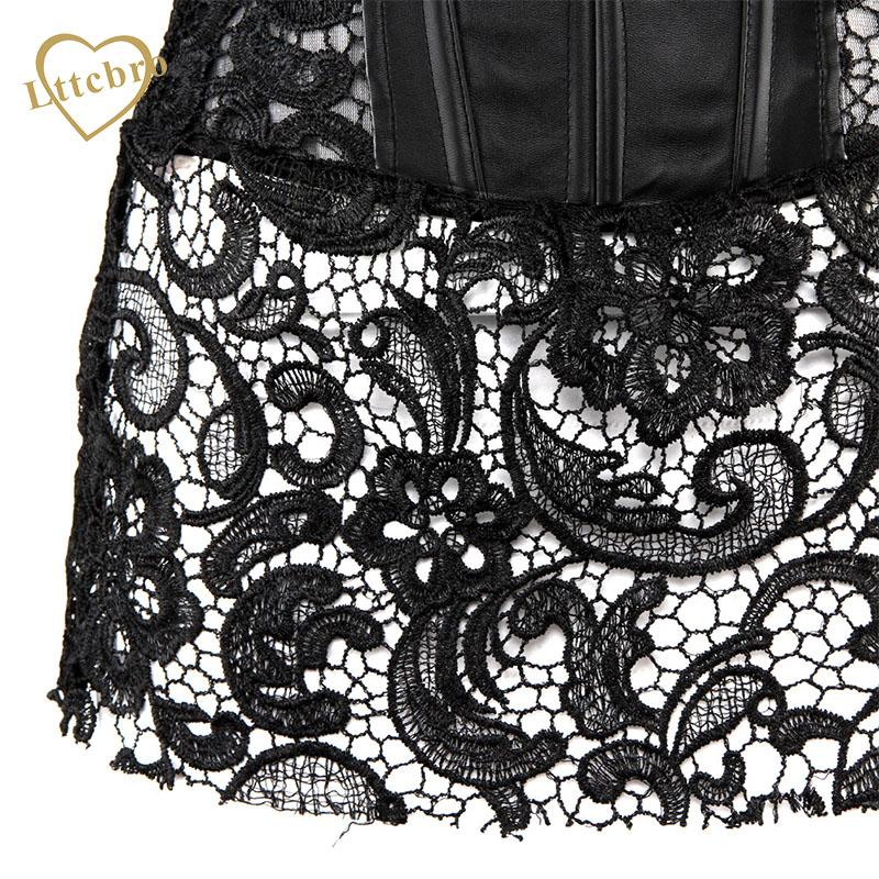 2016 New Lace and Faux Leather Corset Steampunk Costume Shaper Overbust Lace Up Sexy Women's Plus Size Waist Trainer S-6XL