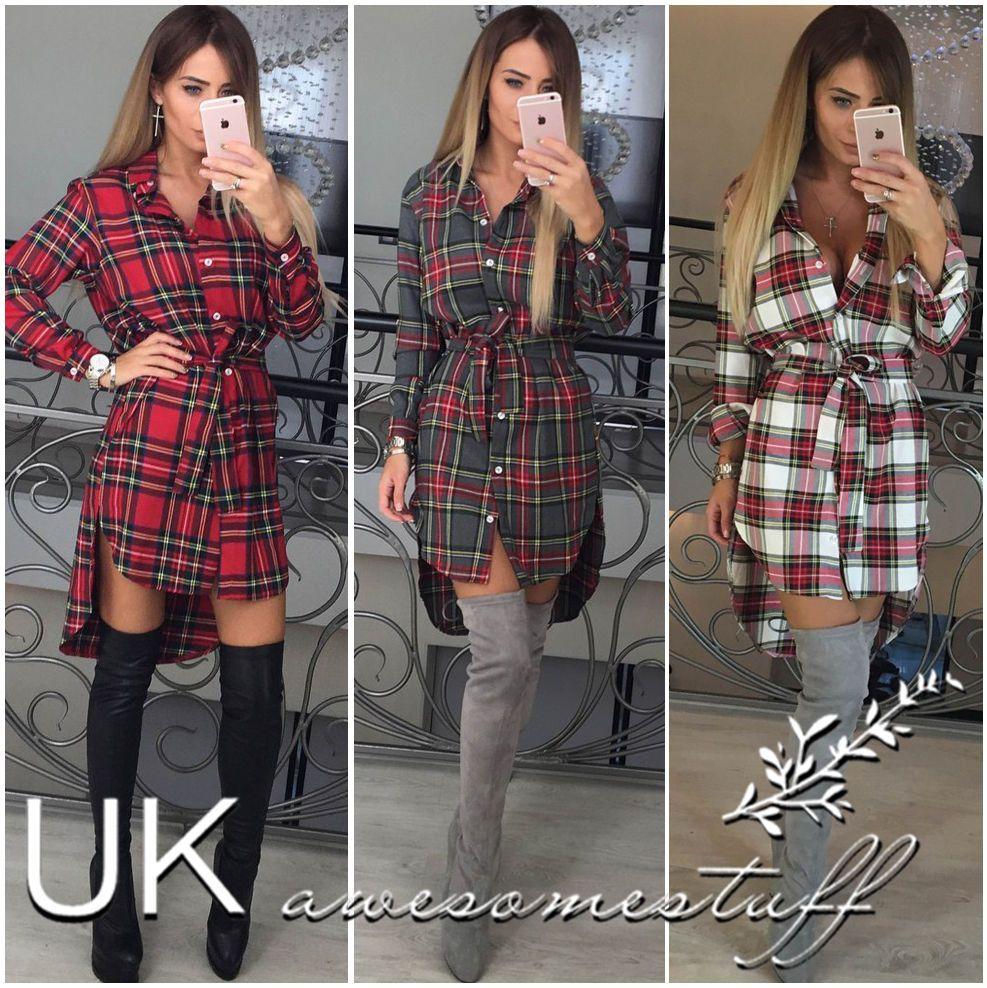 2017 Uk Womens Check Shirt Mini Dress Ladies Long Sleeve Plaid ...