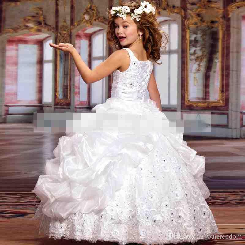 Lüks 2019 Sparkle Güzellik Küçük Kızlar Pageant Elbiseler ile Boncuk Balo Organze Dantel Küçük Çocuk Çocuk Elbise