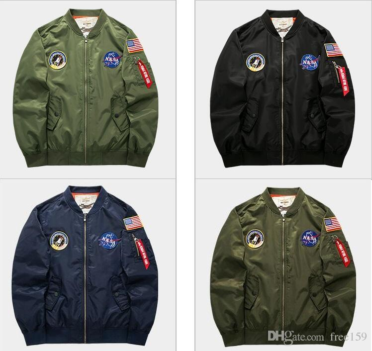 f6d4ace421b57 Plus Size 5XL US NASA Pacth MA1 Bomber Jacket Men Thin Coat Air Force  Embroidery Men Pilot Jacket Military Tactical Jackets Denim Jacket With  Wool Collar ...