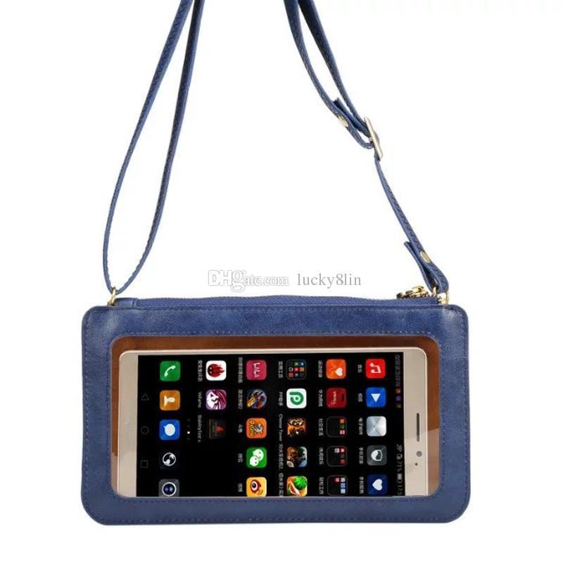 Etui en cuir sac à bandoulière pochette à bandoulière sac à bandoulière pour iPhone5 6 7 galaxy S8 Plus Note5 téléphones pochette embrayage