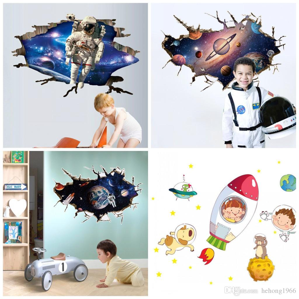 4 5hy4 Removable Universe 3D Wall Stickers For Children's Room Kindergarten Decoration Background Outer Space Walls Decals Translucent
