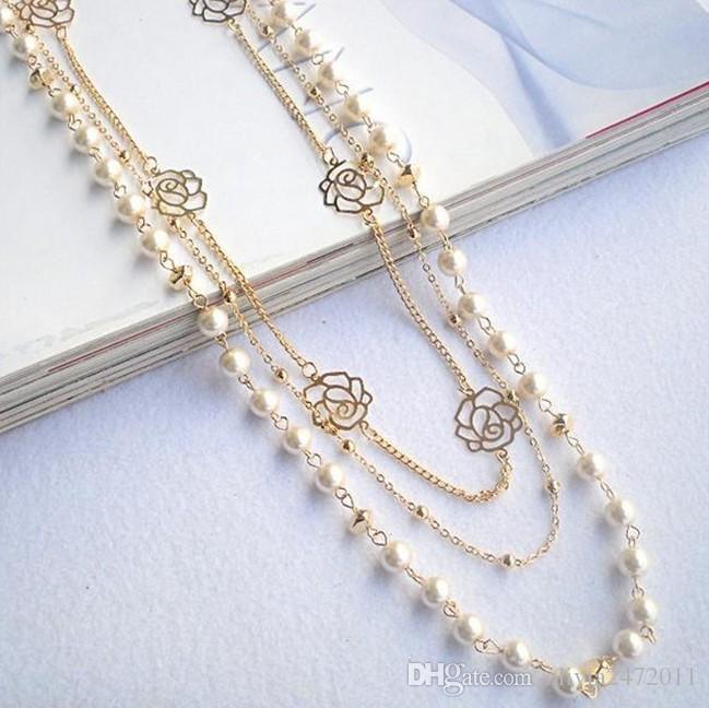 新しいFashon Necklacesゴールデンチェーン中空アウトローズパールセーターチェーンネックレス女性ギフトLY2