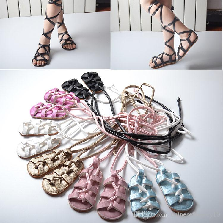 e411b98dff059b Baby Girls Sandals Toddler Lace Up Flat Heels Sandals PU Leather Kids Gladiator  Shoes Summer Hot Sale Cute Toddler Shoes For Girls Shoes For Girl Kids From  ...