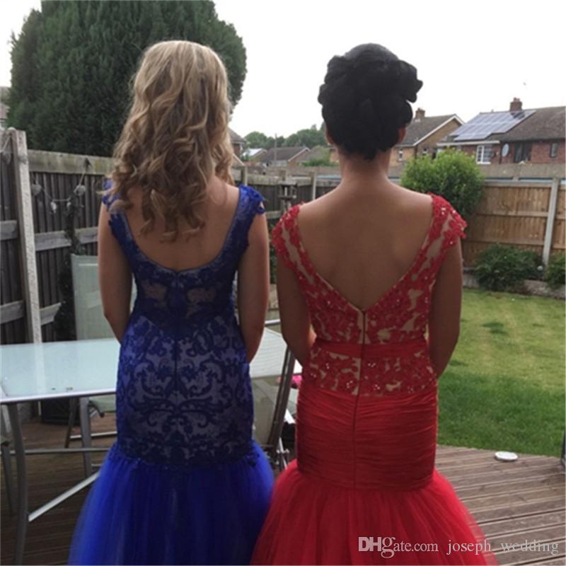 Atractivos del envío libre sin respaldo vestidos de baile baratos larga del rojo de la sirena de los vestidos de noche Vestidos 2017 Longo de Renda