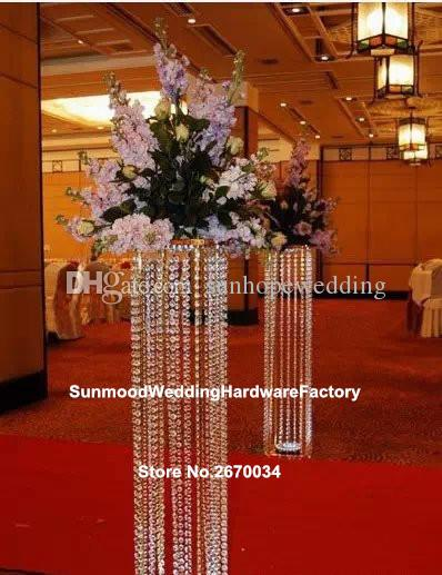Wedding walk way flower stand stage venue arylic crystal column pillar for wedding decoration