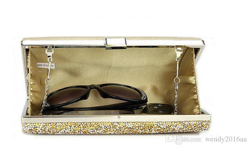 Diamantes de imitación para mujer Bolsos de noche de embrague Bolsos de novia de boda de cristal Monedero Negro Oro Plata gris es con cadenas Bolso de fiesta