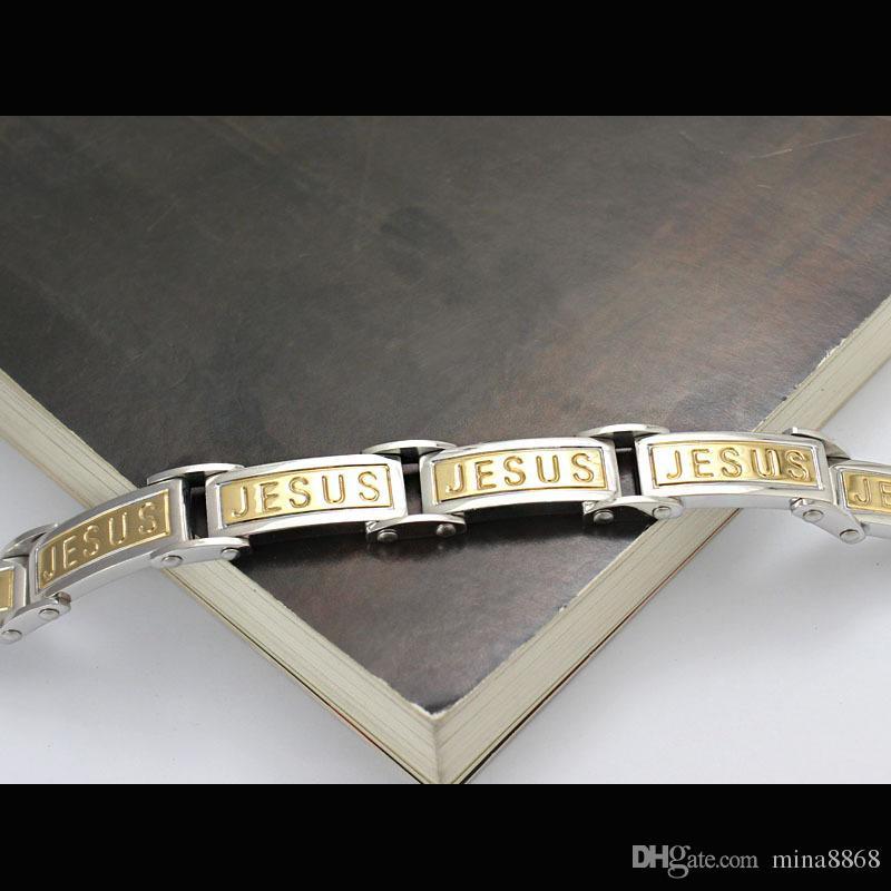 Men's Cool 10MM Stainless Steel bracelets Silver English JESUS Lords Prayer Link Chain Wrist Bracelet & Bangle Wholesale