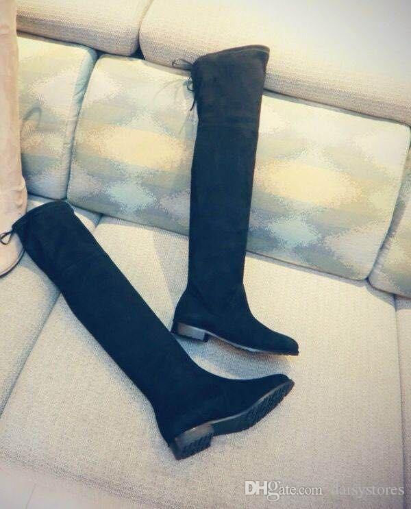 Hot Sale Stretch Fabric Woman Boots High Quality Leather Over The Knee Boots Woman 2017 New Arrival Fashion Designer Shoes Woman