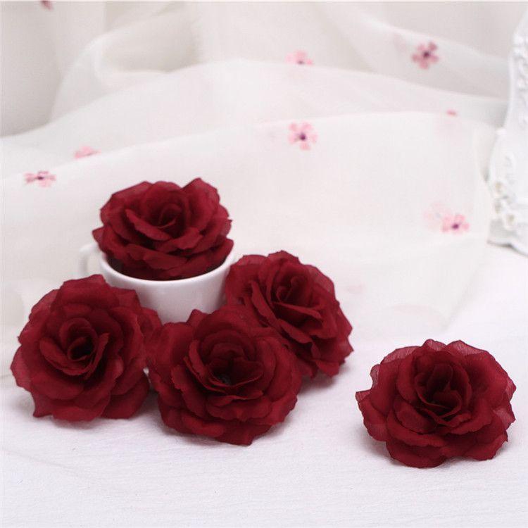50 unids 8 cm rosa de seda encabeza cabezas azul negro rosa brote para el banquete de boda simulación artificial decorativa seda peonía camelia rosa flor