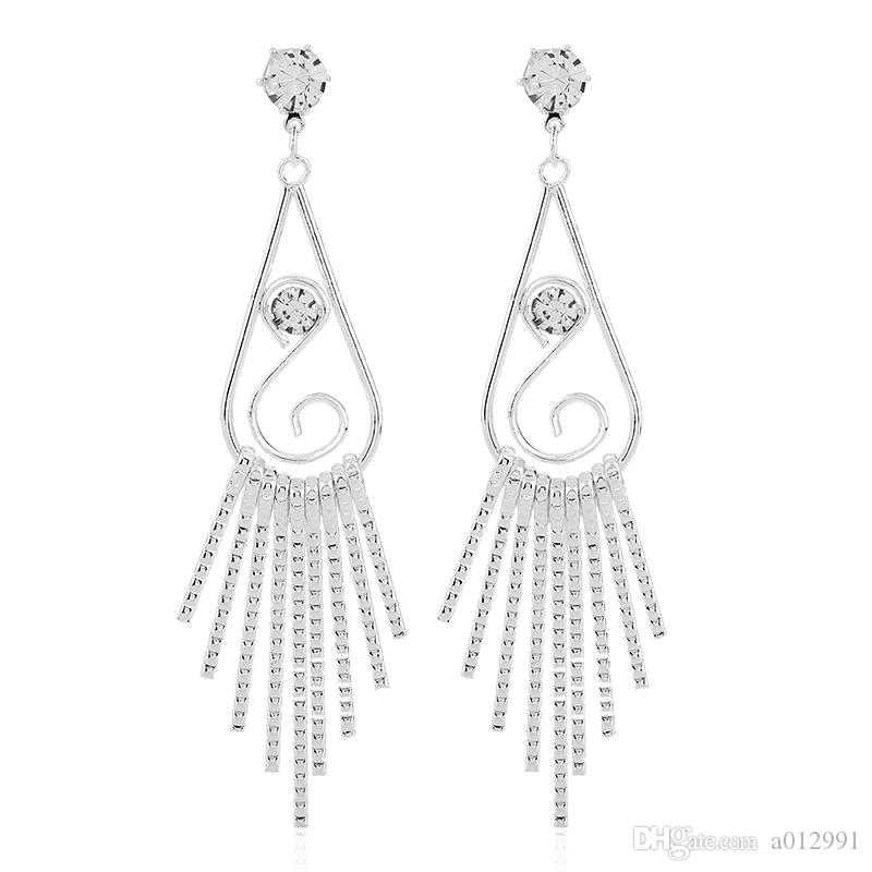 American Style Tassel Earrings for Women 2017 Gold Silver Plated Tassle Alloy Long Dangle Chandelier Diamond Earrings Wholesale free ship